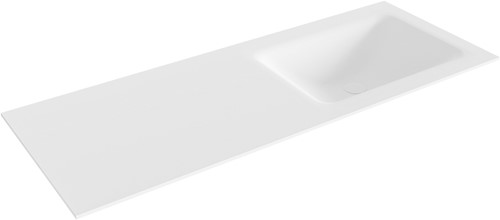 CLOUD Talc solid surface inbouw wastafel 121cm Positie wasbak rechts