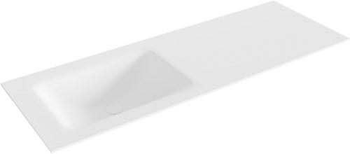 CLOUD Talc solid surface inbouw wastafel 130cm Positie wasbak links