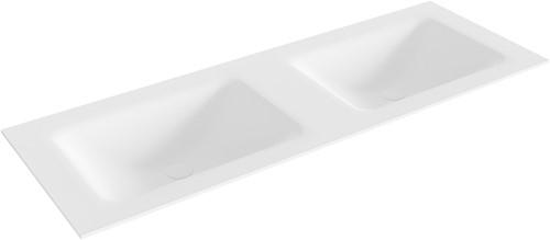 CLOUD Talc solid surface inbouw wastafel 131cm dubbel