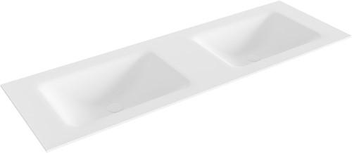 CLOUD Talc solid surface inbouw wastafel 141cm dubbel