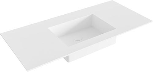 EDGE Talc solid surface inbouw wastafel 101cm Positie wasbak midden