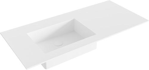 EDGE Talc solid surface inbouw wastafel 100cm Positie wasbak links