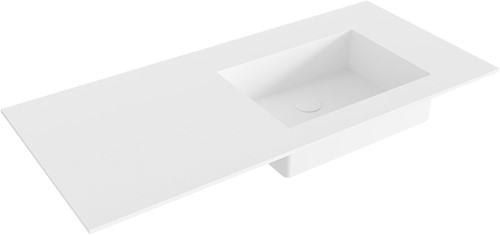 EDGE Talc solid surface inbouw wastafel 100cm Positie wasbak rechts