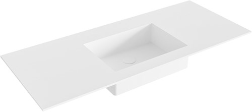 EDGE Talc solid surface inbouw wastafel 110cm Positie wasbak midden