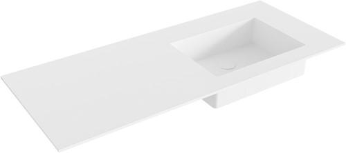 EDGE Talc solid surface inbouw wastafel 110cm Positie wasbak rechts