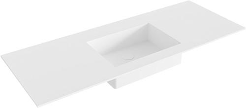 EDGE Talc solid surface inbouw wastafel 121cm Positie wasbak midden