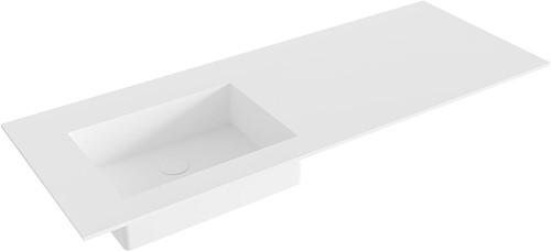 EDGE Talc solid surface inbouw wastafel 121cm Positie wasbak links