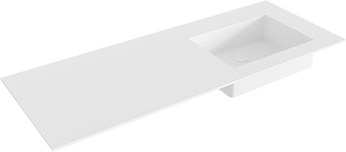 EDGE Talc solid surface inbouw wastafel 120cm Positie wasbak rechts