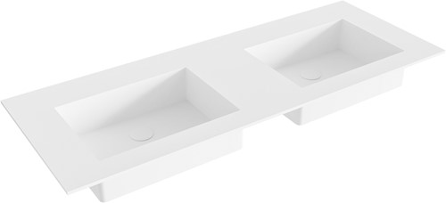 EDGE Talc solid surface inbouw wastafel 120cm dubbel