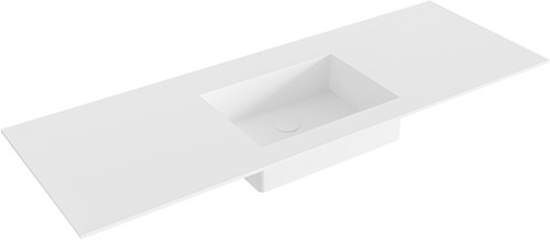 EDGE Talc solid surface inbouw wastafel 130cm Positie wasbak midden