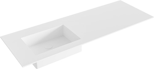 EDGE Talc solid surface inbouw wastafel 130cm Positie wasbak links