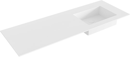 EDGE Talc solid surface inbouw wastafel 131cm Positie wasbak rechts