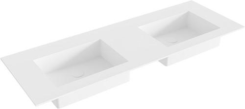 EDGE Talc solid surface inbouw wastafel 131cm dubbel