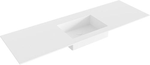 EDGE Talc solid surface inbouw wastafel 140cm Positie wasbak midden