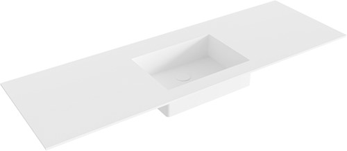 EDGE Talc solid surface inbouw wastafel 141cm Positie wasbak midden