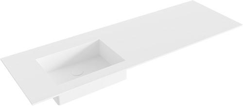 EDGE Talc solid surface inbouw wastafel 140cm Positie wasbak links