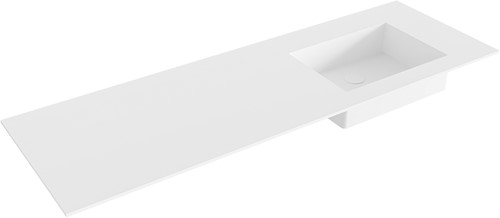 EDGE Talc solid surface inbouw wastafel 141cm Positie wasbak rechts