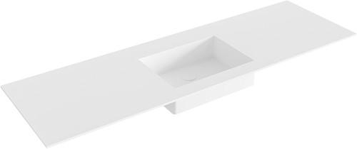EDGE Talc solid surface inbouw wastafel 151cm Positie wasbak midden