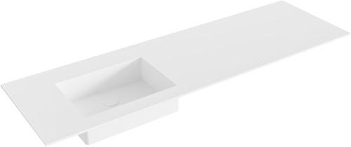 EDGE Talc solid surface inbouw wastafel 150cm Positie wasbak links