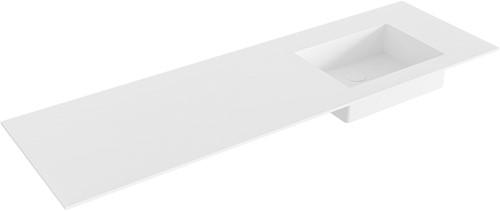 EDGE Talc solid surface inbouw wastafel 150cm Positie wasbak rechts