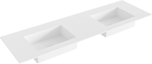 EDGE Talc solid surface inbouw wastafel 150cm dubbel