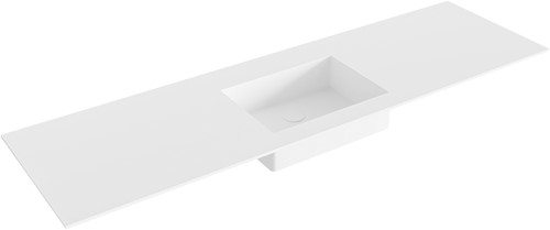 EDGE Talc solid surface inbouw wastafel 161cm Positie wasbak midden