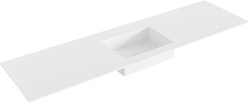 EDGE Talc solid surface inbouw wastafel 170cm Positie wasbak midden