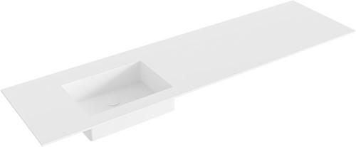 EDGE Talc solid surface inbouw wastafel 171cm Positie wasbak links