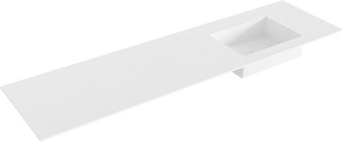 EDGE Talc solid surface inbouw wastafel 170cm Positie wasbak rechts