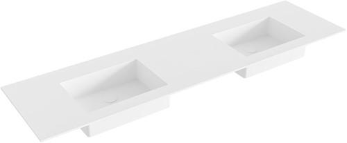EDGE Talc solid surface inbouw wastafel 170cm dubbel