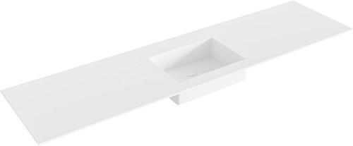 EDGE Talc solid surface inbouw wastafel 181cm Positie wasbak midden