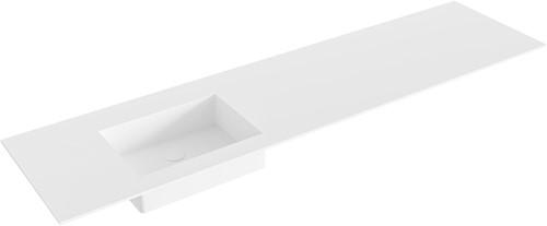 EDGE Talc solid surface inbouw wastafel 181cm Positie wasbak links