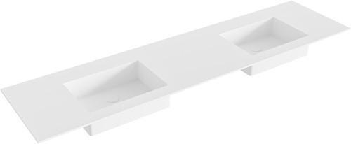 EDGE Talc solid surface inbouw wastafel 181cm dubbel