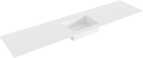 EDGE Talc solid surface inbouw wastafel 190cm Positie wasbak midden
