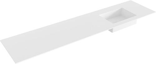 EDGE Talc solid surface inbouw wastafel 190cm Positie wasbak rechts