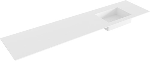EDGE Talc solid surface inbouw wastafel 191cm Positie wasbak rechts