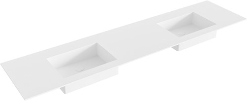 EDGE Talc solid surface inbouw wastafel 191cm dubbel
