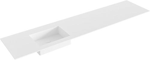 EDGE Talc solid surface inbouw wastafel 201cm Positie wasbak links
