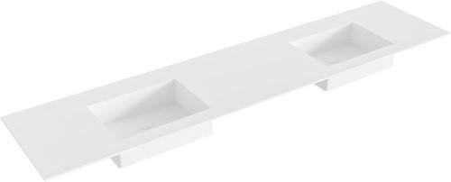 EDGE Talc solid surface inbouw wastafel 200cm dubbel