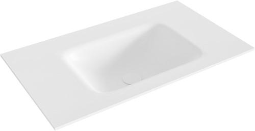 GRUNNE Talc solid surface inbouw wastafel 70cm Positie wasbak midden