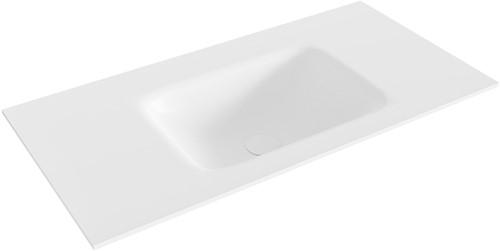 GRUNNE Talc solid surface inbouw wastafel 80cm Positie wasbak midden