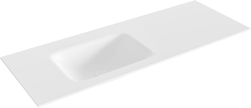 GRUNNE Talc solid surface inbouw wastafel 111cm Positie wasbak links