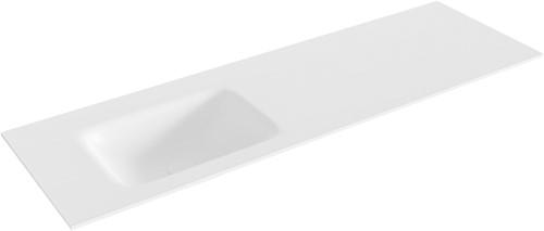 GRUNNE Talc solid surface inbouw wastafel 131cm Positie wasbak links