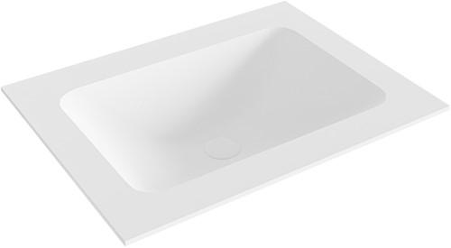 LEAF Talc solid surface inbouw wastafel 61cm Positie wasbak midden