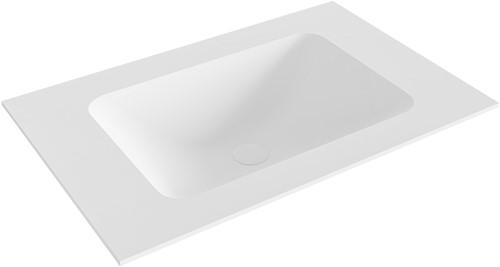 LEAF Talc solid surface inbouw wastafel 70cm Positie wasbak midden