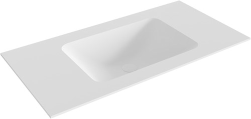 LEAF Talc solid surface inbouw wastafel 90cm Positie wasbak midden