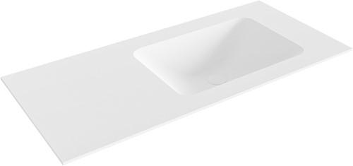 LEAF Talc solid surface inbouw wastafel 100cm Positie wasbak rechts