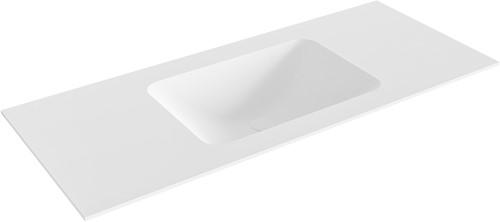 LEAF Talc solid surface inbouw wastafel 111cm Positie wasbak midden