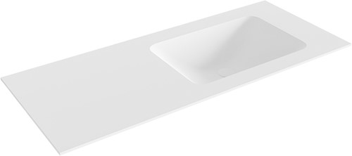 LEAF Talc solid surface inbouw wastafel 111cm Positie wasbak rechts