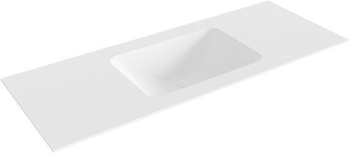 LEAF Talc solid surface inbouw wastafel 120cm Positie wasbak midden